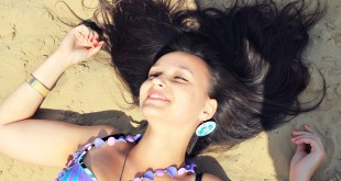 Beach Smile Hair Sand Posture Girl Brunette