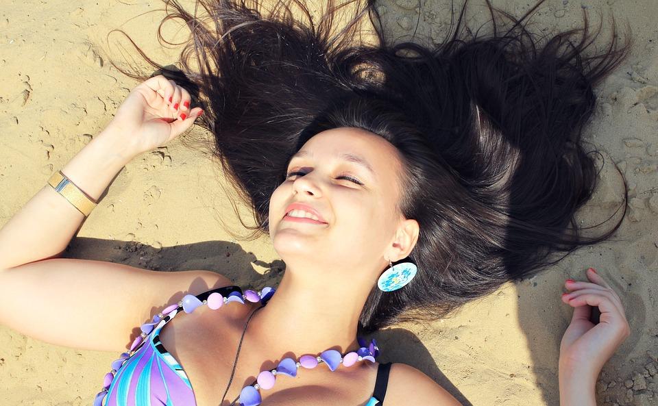 Beach Smile Hair Sand Posture Girl Brunette